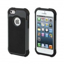 Forro iPhone 5 Anti-Shock Negra Gris Muvit - con Protector Pantalla  Bs.F. 151,30