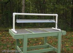Do-It-Yourself PVC table-top light stand tutorial from the University of Maryland Extension website. You could easily use this inside to get a head start on your spring garden!