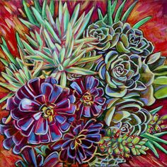 Pot of Succulents 12x12 inch print on canvas by LinneaTobias