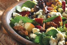 Apple Blue Cheese Tossed Salad : Looking for a crisp, light and flavorful salad? You've found the one! It features apples, Stella® brand Blue Cheese and walnuts. Dressed in a honey mustard vinaigrette. Mmm!