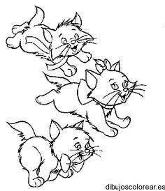 Dibujo de tres gatitos corriendo