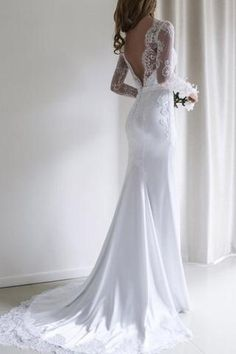 Elegant Lace Long Sleeves Mermaid Backless White Long Wedding Dress with Train Lace Long Sleeves Mermaid Backless Weiß Langes Brautkleid mit Schleppe – SmilePromDresses White Lace Wedding Dress, Wedding Dress Sleeves, Long Sleeve Wedding, Elegant Wedding Dress, Dresses With Sleeves, Dress Wedding, Modest Wedding, Lace Sleeves, Wedding White