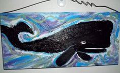 Primitive Folk Art Nautical Whale painting on wood original signed Gail Grant #NaivePrimitive