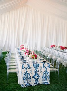 Long tables and a patterned table runner.  Lovely!  #tent #pink #blue Photography By / http://josevillaphoto.com,Planning By / http://lauriearons.com