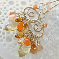 Brilliant Wire Wrapping!    oOo The PAPAYA Earrings oOo by EmilyGrayJewels on Etsy, $215.00