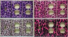 LEOPARD PRINT LIGHT SWITCH & OUTLET COVERS PINK PURPLE