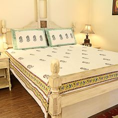 Cotton Hand Block Printed Double Bedcover - Yellow/Green Paisely With 2 Pillow Covers for INR 1,525