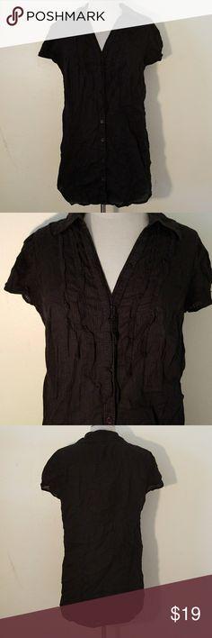 Style & Co Black Short Sleeve Ruffle Shirt Style & Co Black Short Sleeve Ruffle Shirt  100% cotton Style & Co Tops Blouses