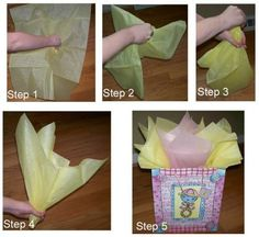 How to Place Tissue Paper in a Gift Bag and Make It Look Good - so I don't forget this again! gift bag How to Place Tissue Paper in a Gift Bag and Make It Look Good Tissue Paper Storage, Tissue Paper Wrapping, Tissue Paper Crafts, Gift Wrapping, Wrapping Ideas, Paper Gift Bags, Paper Gifts, Homemade Gifts, Diy Gifts
