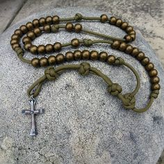 Military Rosary done in coyote brown paracord.