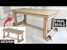 """During the year 2020's Covid-19 """"work from home order"""" I finally had some extra time in my daily schedule to tackle new home remodel projects which my wife had in mind. These projects required a workshop area, which I assembled in my garage. However, with Garage Workbench Plans, Mobile Workbench, Folding Workbench, Woodworking Workbench, Workshop Plans, Garage Workshop, Woodworking Ideas Table, Wall Mounted Table, Building A Garage"""