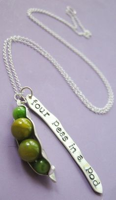 Four peas in a pod necklace