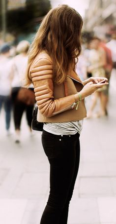 nude leather moto jacket // street style