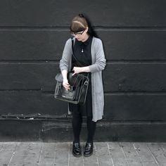 April, Senior Accessories Designer, wears the Adrian shoe in black.