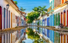 Streets of Paraty, Brazil - Catarina Belova/Shutterstock South America Destinations, South America Travel, Top Destinations, Walk To Remember, Colourful Buildings, Social Art, World's Most Beautiful, Brazil, Places To Go