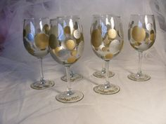 painted wine glass with silver and gold dots - can be personalized and done in any colors