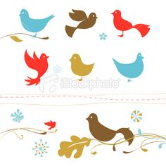 Retro birds Royalty Free Stock Vector Art Illustration