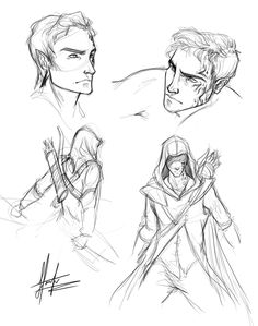 Trying to get Rowan out of my head has turned into a dangerous game and now I cant stop - here's a few quick sketches from this evening's session! I went for the whole Assassin's Creed vibe …. I think the top left is getting close to how I picture...