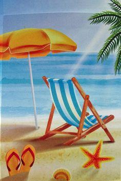 Beach Chair Summer Art Garden Scenes Pictures Ilration
