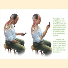 Looking down at our phones is something that we all do, some cases for hours a day.   Forward Head posture and loss of proper cervical curves are big problems in our society.   We are even seeing small children's posture being affected adversely, partly because they are all playing on phones, ipods, gameboy's, etc....