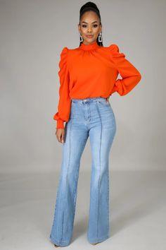 70s Inspired Fashion, Retro Fashion, Womens Fashion, Wide Pants, Wide Leg Jeans, Petite Flare Jeans, Beautiful Dark Skinned Women, Gorgeous Women, My Jeans