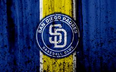 Download wallpapers 4k, San Diego Padres, grunge, baseball club, MLB, America, USA, Major League Baseball, stone texture, baseball
