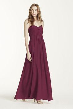 Long Sheer Chiffon Bridesmaid Dress with Beaded Neckline Style F14867,...