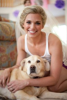 My best friend and her husband's dog (which is now her dog too), Marley!  Getting ready before the wedding.