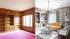 A dove gray grounded Iyanla's library, and Nate added the butterscotch mohair sofa for a warm pop of color.