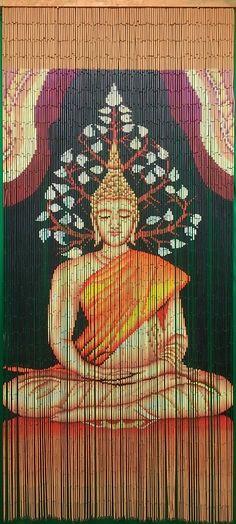 Hand Painted Beaded Bamboo Curtain - Buddha