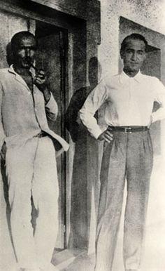 Kazantzakis w/ Pantelis Prevelakis in Aegina island, 1933 Zorba The Greek, Magnum Opus, Crete, Writers, Archive, Novels, Portraits, Island, Spaces