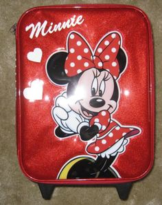 NWT Disney Store Official Minnie Mouse red rolling suitcase vacation luggage