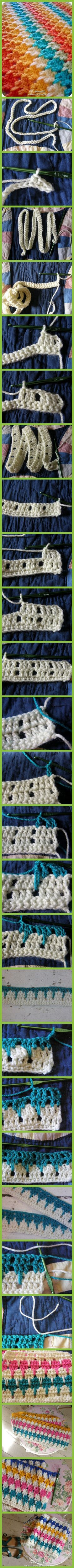 How to crochet the lark's foot stitch - great step-by-step photo tutorial