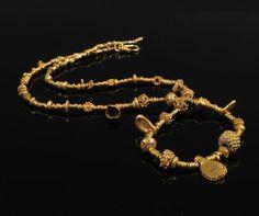 Pyu Gold Necklace Pyu Culture, Burma Pyu Dynasty (11th-13th century) High karat gold beads with contemporary 18 karat gold clasp