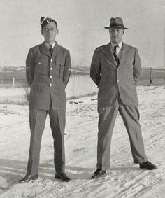 RCAF pilot Alan Light of Battleford, Saskatchewan, posing in 1942 with his father Charles Light, a veteran of Lord Strathcona's Horse in World War One.