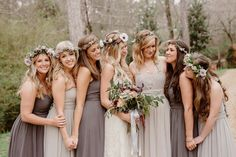 Woodsy Bohemian Wedding. Bridesmaids. Soft Neutral Colored Bridesmaid Dresses. Flower Crown. Birmingham Wedding. Nashville Wedding Photographers. www.bradandjen.com