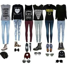 Edgy, casual outfits for both girly and rock chicks<3