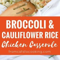 A healthy and cheesy broccoli and cauliflower rice chicken casserole that is perfect for dinner and makes great leftovers. Gluten free, grain free & paleo!
