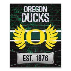 Oregon Ducks Brickyard Canvas Wall Art, Team
