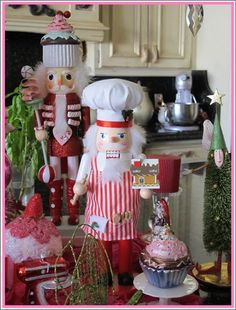 Nutcrackers in the Kitchen.. .I love nutcrackers but I don't own any. This one would be great with my kitchen ornies.