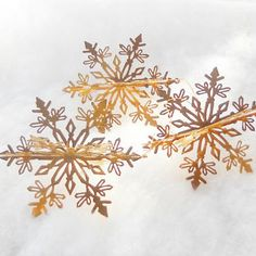 Set of 3 Gold Dimensional Metal Snowflakes, Christmas Tree, Christmas Ornaments, Craft Supplies, Projects