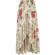 River Island White floral print sequin maxi high-low skirt ($70) ❤ liked on Polyvore featuring skirts, bottoms, maxi skirt, white, women, long sequin skirts, hi low maxi skirt, white skirt, long floral maxi skirt and floor length maxi skirt