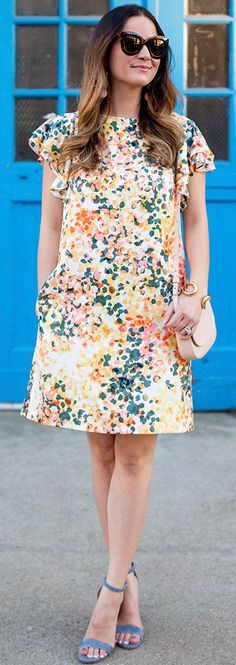 pretty spring outfits / White Printed Dress / Blue Sandals