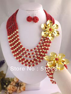 Fahion red coral Necklace Bracelet Earrings African Bridal Wedding Jewelry Set $68.76