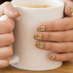 #Thanksgivingnailart #Thanksgiving #Thanksgivingnailwraps #Pumpkinnailwrap Floral Minx nail art wraps by @MagentaRoseDesigns at @Zazzle