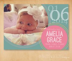 Baby Birth Announcement Circles // Printable or by TheMombot, $16.00