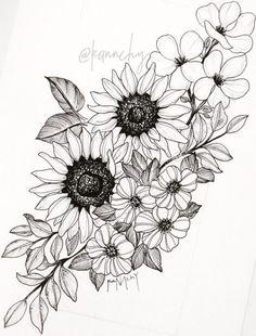 sunflower tattoos, flower thigh tattoos, back thigh tattoo, floral hip tattoo Neue Tattoos, Body Art Tattoos, Tattoo Drawings, Sleeve Tattoos, Tattoo Sleeves, Tattoo Sketches, Henna Tattoos, Foot Tattoos, Tattoo Girls