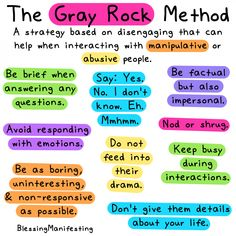 Grey Rock Method, Gray Rock, Mental And Emotional Health, Gaslighting, Feelings And Emotions, Mixed Emotions, Co Parenting, Ways To Communicate, Toxic People