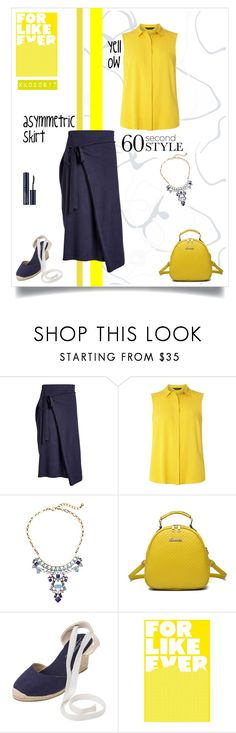 """""""blue & yellow"""" by xanthik ❤ liked on Polyvore featuring Joseph, Dorothy Perkins, Soludos, Estée Lauder, asymmetricskirts and 60secondstyle"""