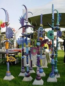 I love these colorful totem poles for outdoor art.